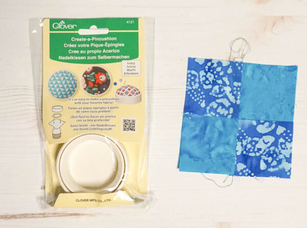 Handmade Pincushion and Pattern Weights Set with Cricut EasyPress Mini via Underground Crafter - pincushion and 4-patch block