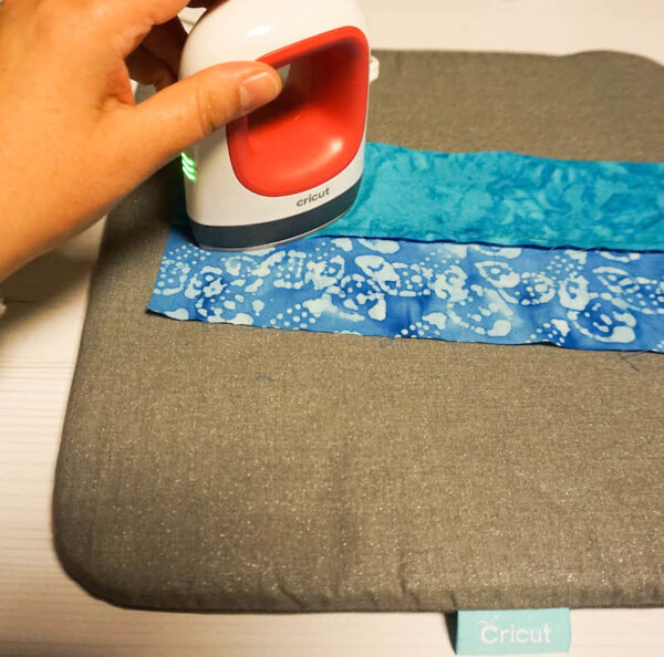 Handmade Pincushion and Pattern Weights Set with Cricut EasyPress Mini via Underground Crafter - pressing seams with EasyPress Mini